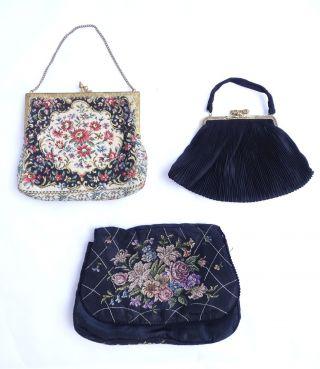 3 Herrliche Alte Abendtaschen Handtaschen Damen Taschen Vor 1950 Bild