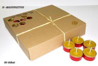 60 X Teelichter Aus 100 Bienenwachs In Roten Aluschalen Mit Muster Bild