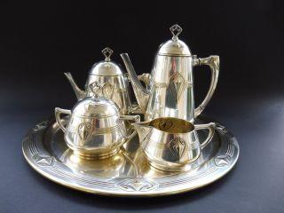 Wmf Jugendstil Teekanne Kaffee Service Art Nouveau Tea Coffee Pot Tray Ornament Bild