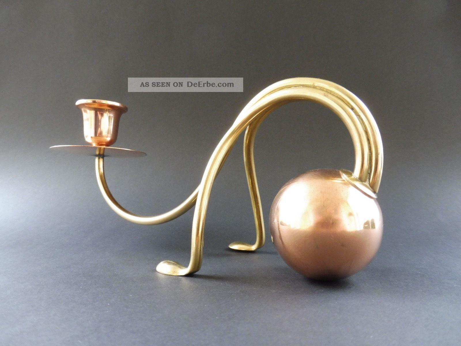 Carl Deffner Esslingen Jugendstil Design Leuchter Art Nouveau Candlestick Kupfer 1890-1919, Jugendstil Bild