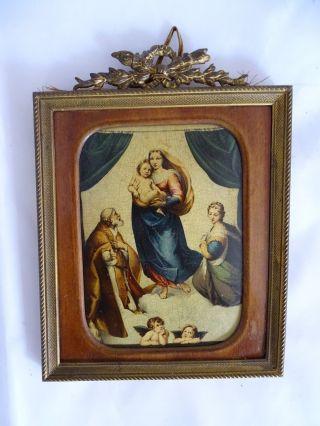 Antikes Andachtsbild In Herrlichem Alten Rahmen Bild