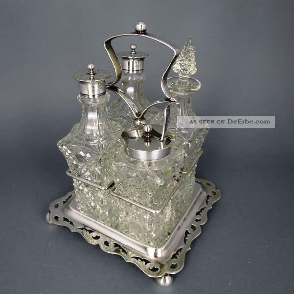 Gewürzständer Menage / Silver Glass Menage Objekte vor 1945 Bild