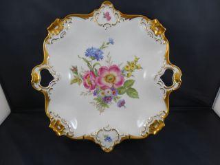 Alka Kunst Gloria ältere Prunkschale Platte Blumendekor Groß Alboth & Kaiser Bav Bild
