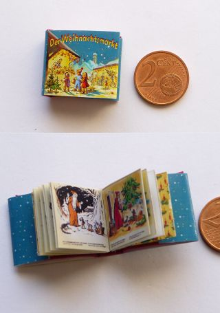 Winziges Miniatur Buch Der Weihnachtsmarkt Für Die Puppenstube Bild