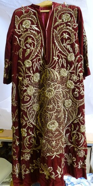 Antikes Herrlich Verziertes Vermutlich Sakrales Religiöses Gewand Rot Gold Bild