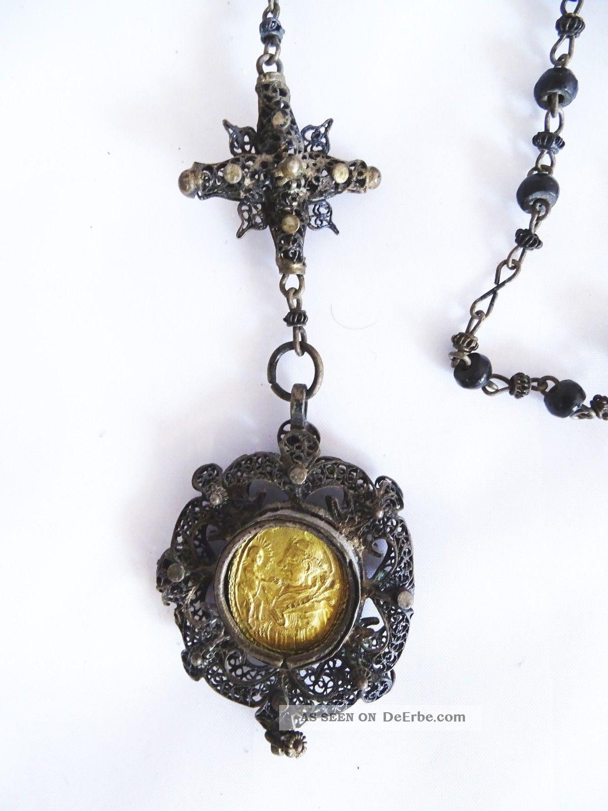 Antiker Sehr Früher Seltener Biedermeier Rosenkranz - Religiöse Rarität Rosenkränze Bild