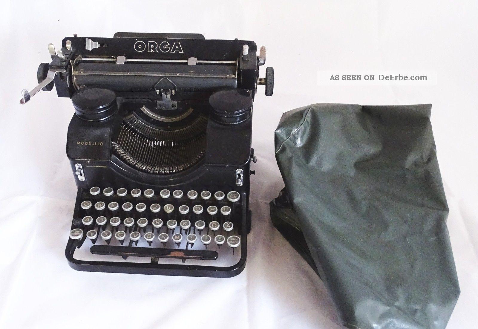 Antike Schreibmaschine Orga Modell 10 Mit Haube - Antike Raritäten Antike Bürotechnik Bild