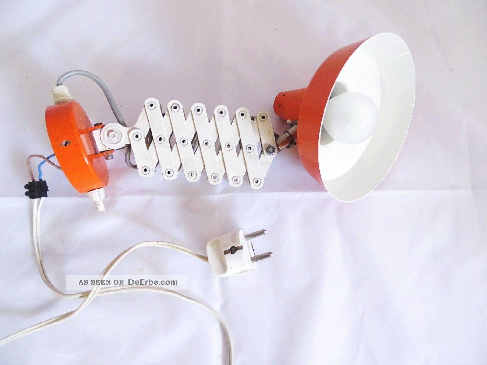 Panton Ära Scherenlampe Rot Orange Voll Funktionsfähig True Vintage Rarität 1970-1979 Bild