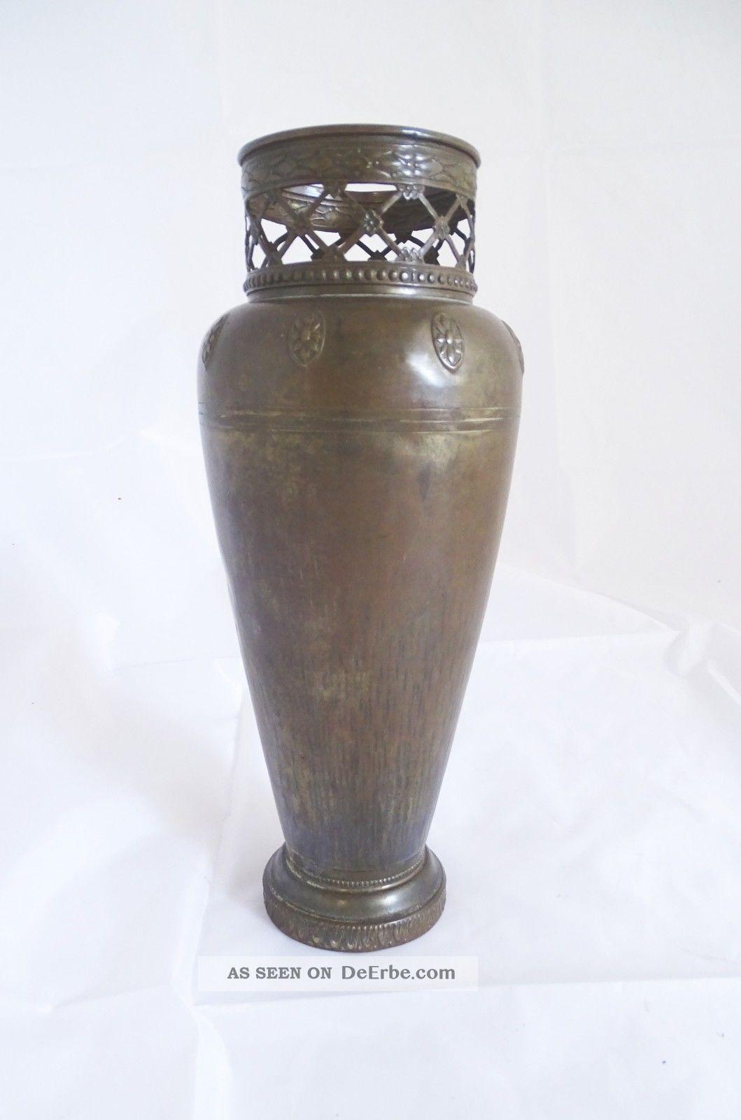 Antike Wümak Jugendstil Metall Vase - Seltene Rarität 1890-1919, Jugendstil Bild