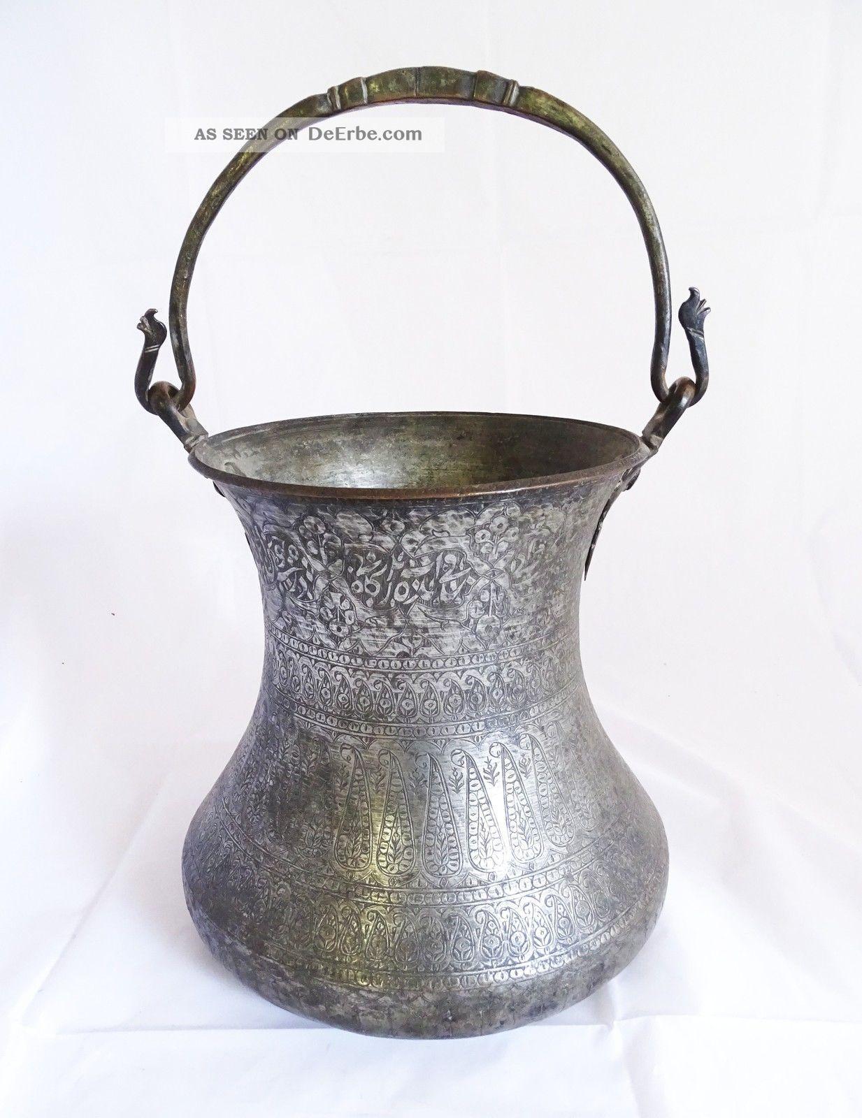 Antikes Orientalisches Henkel Gefäß Mit Reichlich Orientlischer Verzierung Islamische Kunst Bild