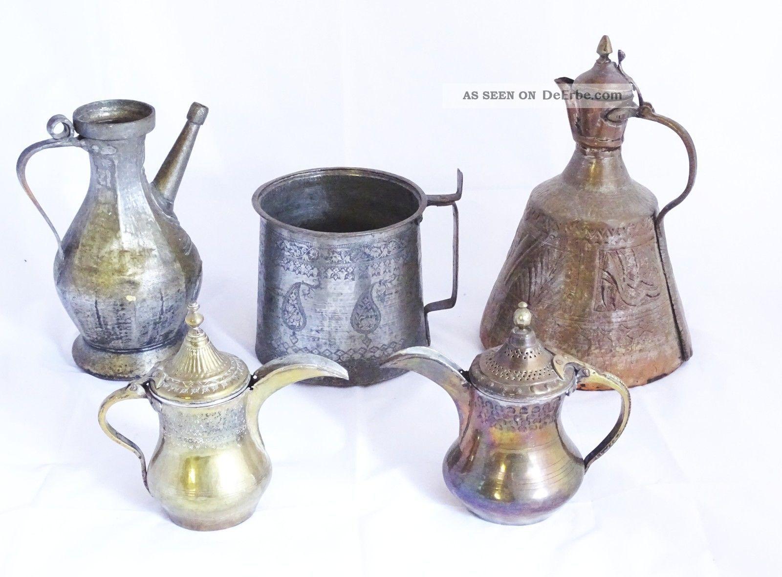 Konvolut 5 Antiker Orientalischer Gefäße Aus Metall Flasche Kanne Etc. Islamische Kunst Bild