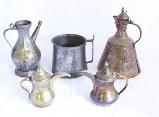 Konvolut 5 Antiker Orientalischer Gefäße Aus Metall Flasche Kanne Etc. Bild