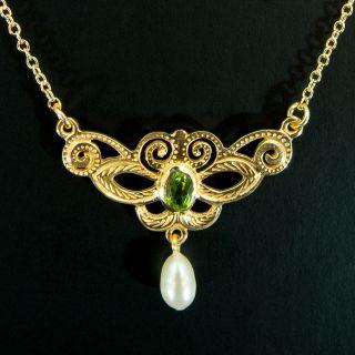 Jugendstil Ohrhänger - Petite Joyau - Granat U.  Perlen 925/ - Silber Rosévergoldet Bild