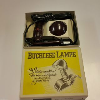 Bakelit Buchleselampe Klemmleuchte Fifties Hergil Reiselampe Pilzlampe Ovp Top Bild