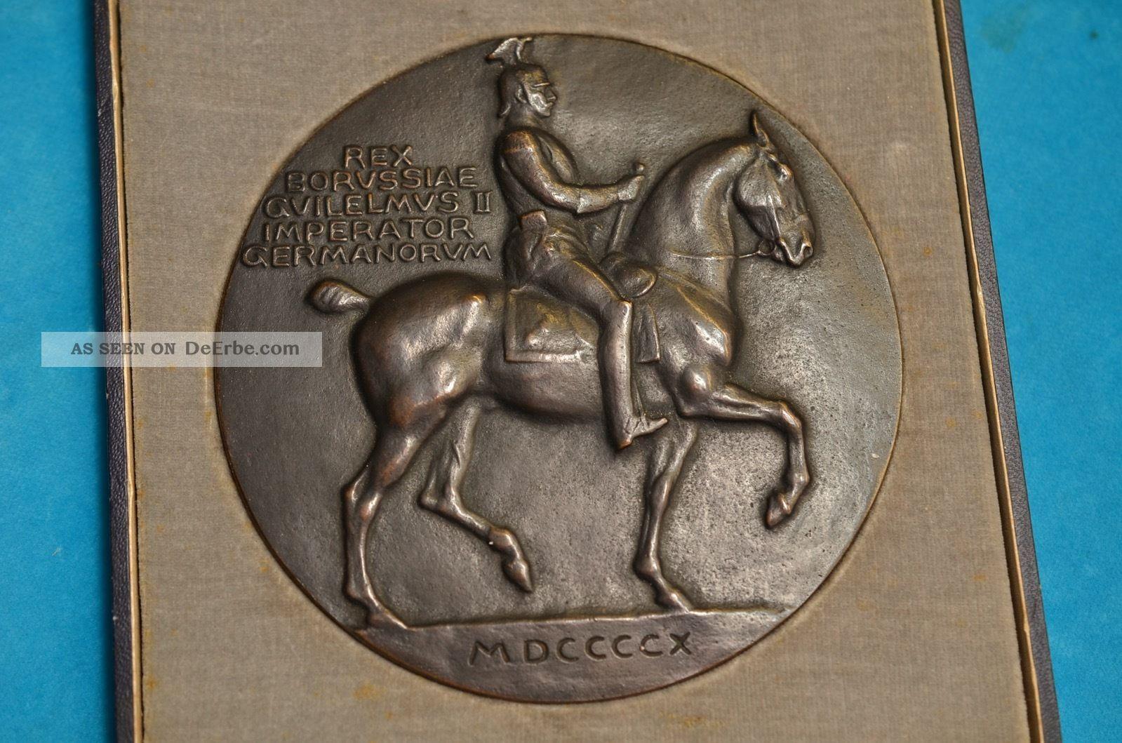 Alte Antike Preußische Bronzeplakette Imperator Germanorum Orig.  Schatulle 1910 Bronze Bild