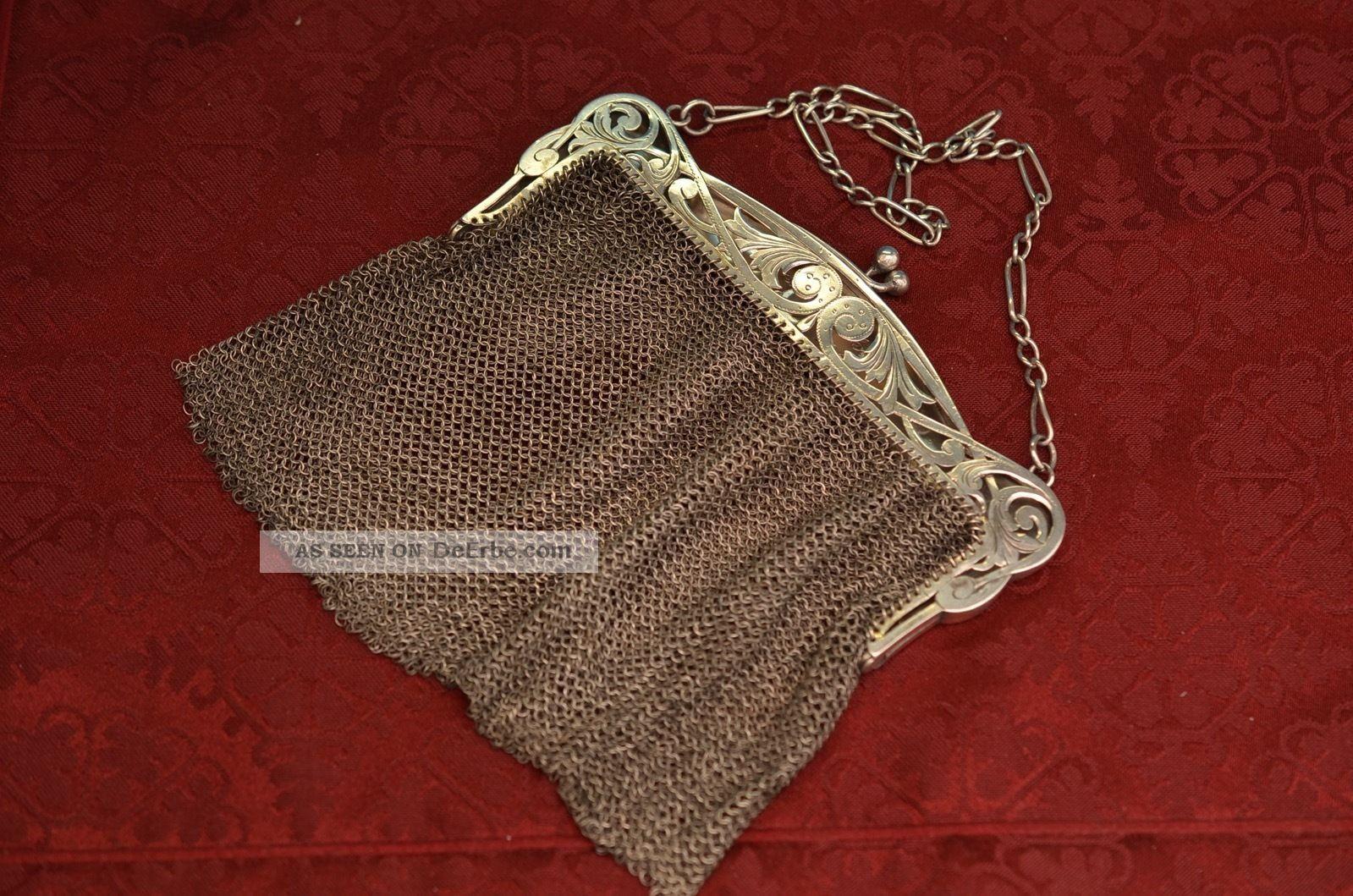 Alte Antike Jugendstil Abendtasche Kettentasche Silber Um 1911 Accessoires Bild