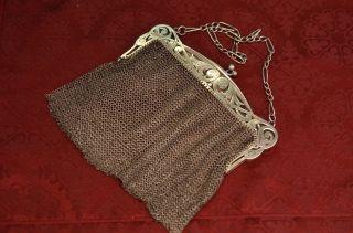 Alte Antike Jugendstil Abendtasche Kettentasche Silber Um 1911 Bild