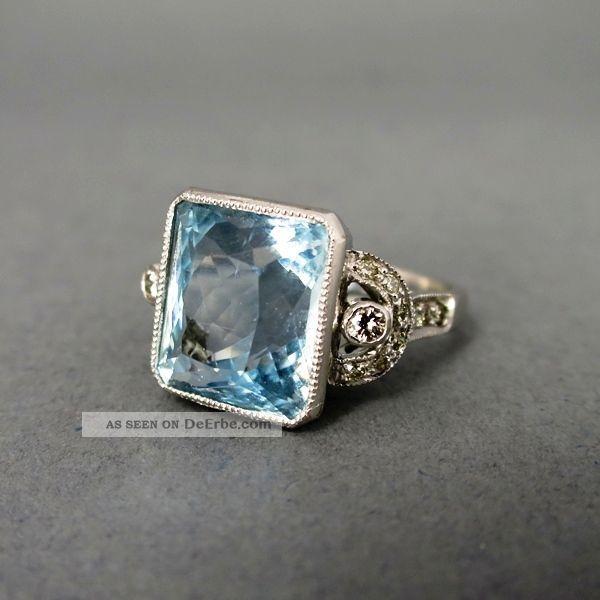 Art Deco Weißgoldring/art Deco Aqua Ring Schmuck nach Epochen Bild