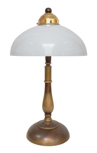 Zierliche Jugendstil Tischlampe Schreibtisch Opalglas 1920 Bild