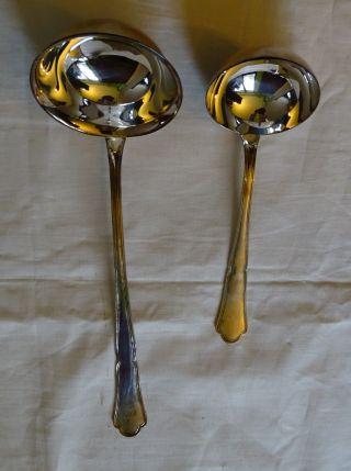 Auerhahn 800 Silber 2x Saucenlöffel Chippendale Silberbesteck Kelle Bild