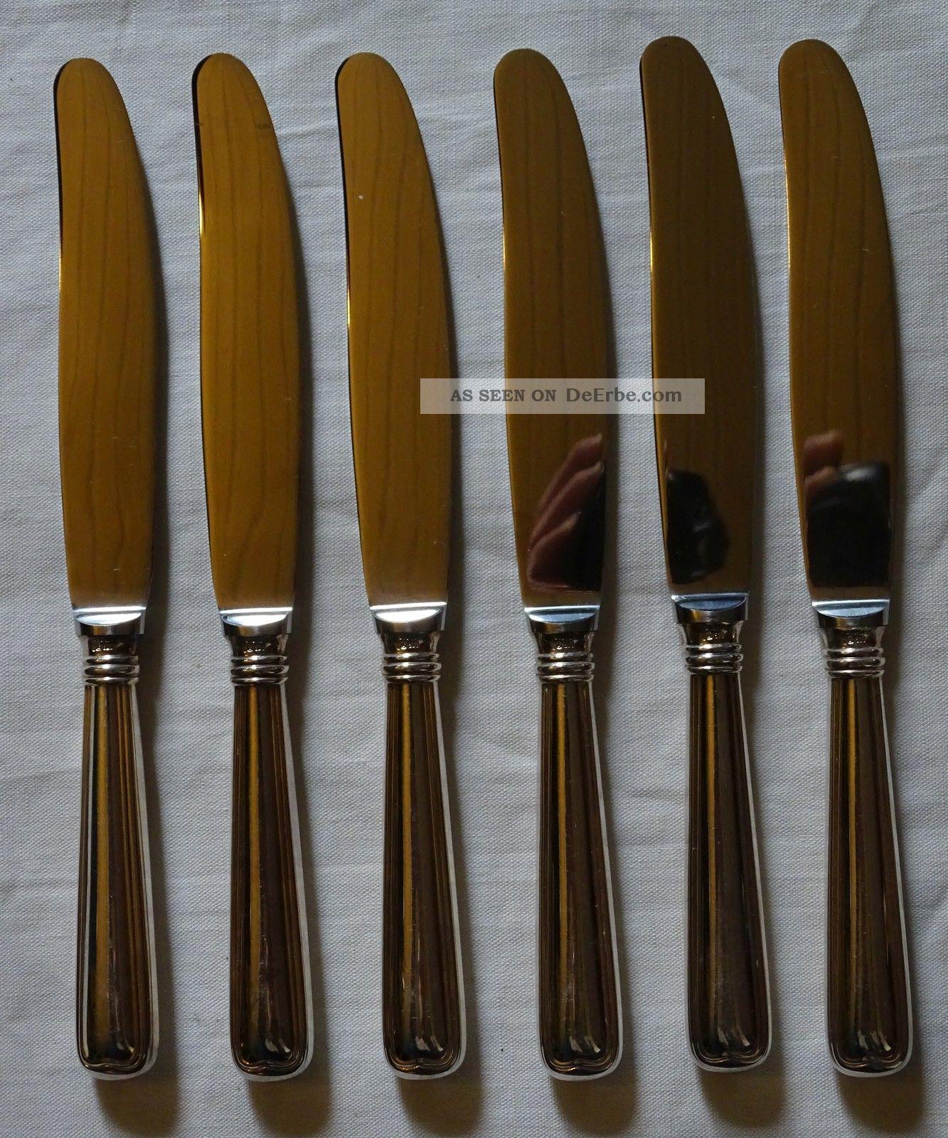 6 Wmf Speisemesser 800 Silber Messer Augsburger Faden Objekte nach 1945 Bild