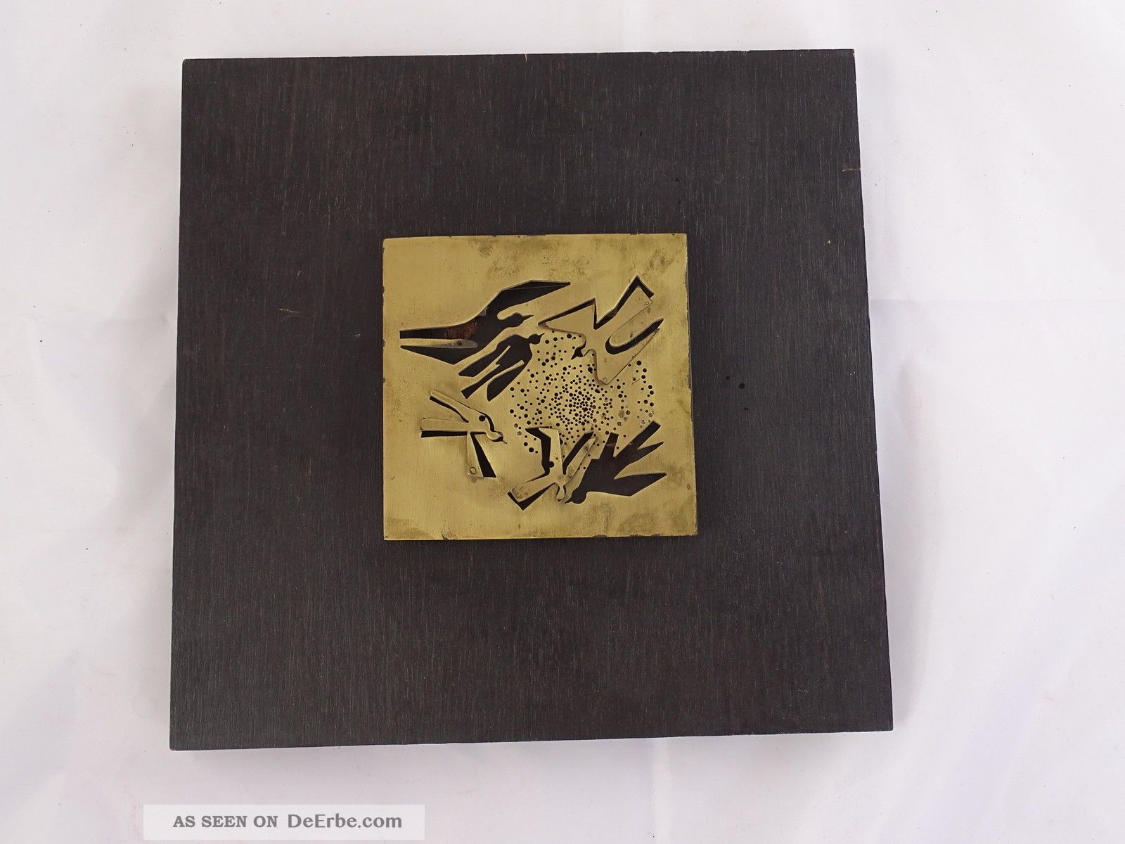 Außergewöhnliches Kunstobjekt Plastik Mit Vögeln Im Flug Auf Holzplatte 1960-1969 Bild
