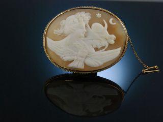 Antike Muschel Gemmen Brosche Kamee Gold Eos Selene England Um 1876 Cameo Brooch Bild