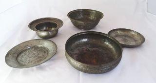 Größeres Konvolut Antiker Orientalischer Teller Herrlich Verziert Aus Metall Bild