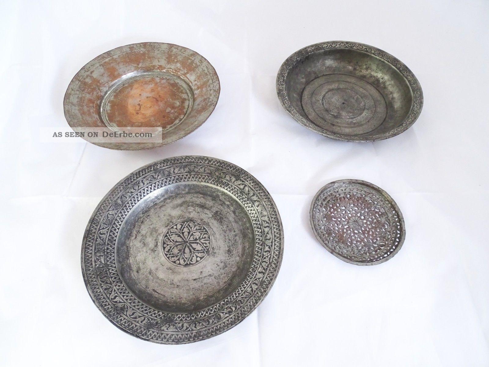 Konvolut 4 Orientlischer Antiker Teller Herrlich Verziert Metall Islamische Kunst Bild