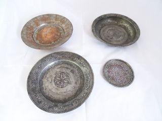 Konvolut 4 Orientlischer Antiker Teller Herrlich Verziert Metall Bild