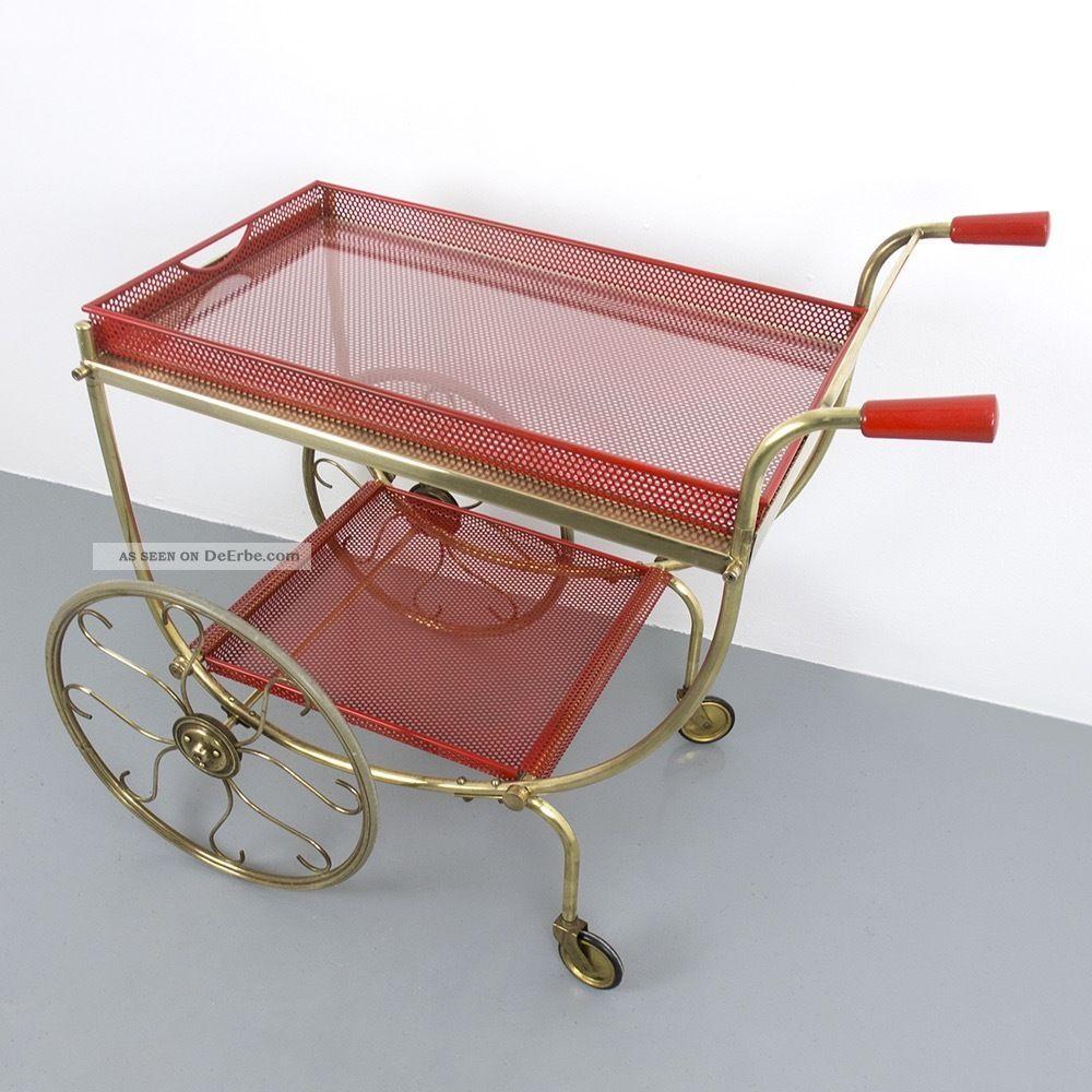 Servierwagen messing beistelltisch 50er 60er tisch vintage for Tisch retro