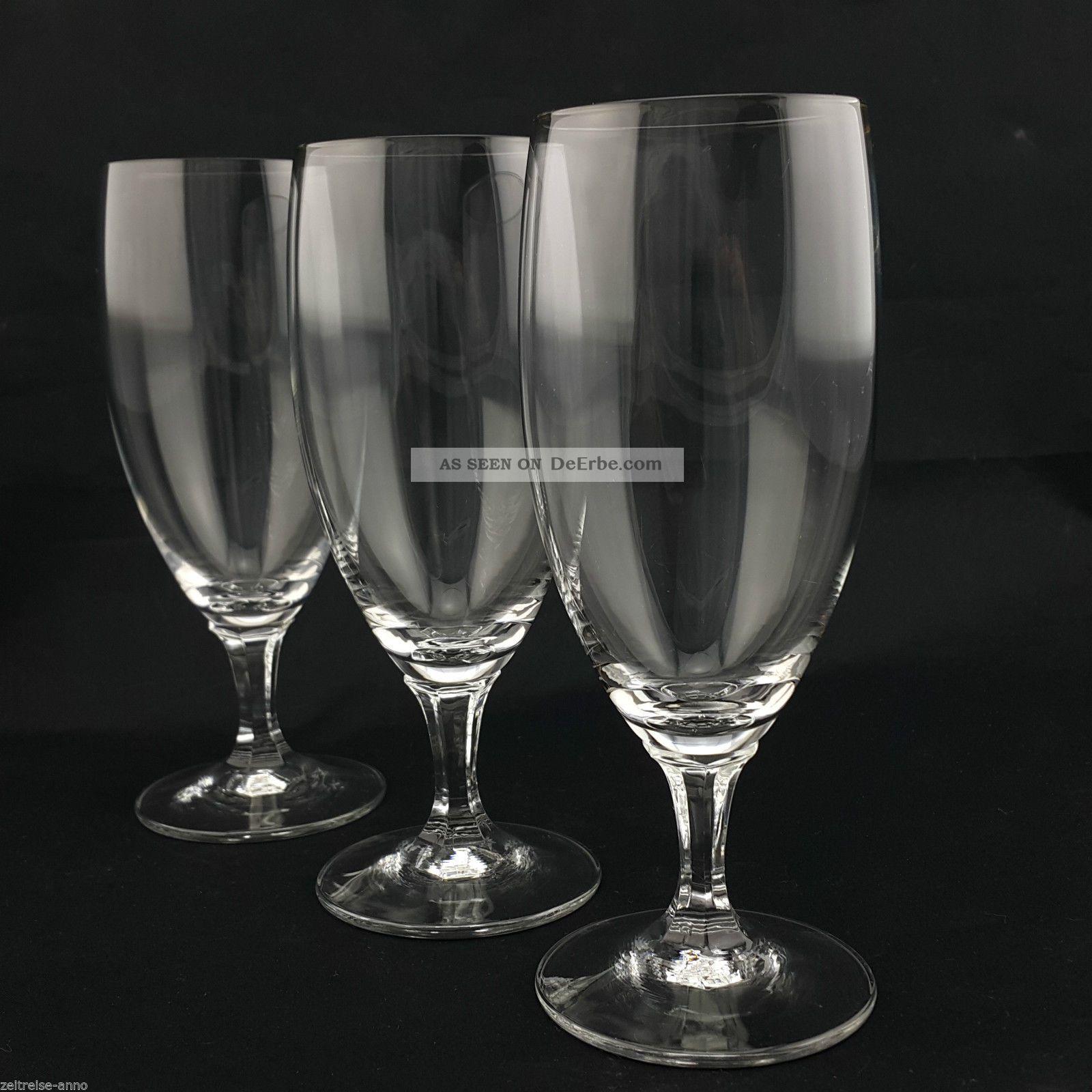 3 Vintage Kristall Biertulpen Biergläser Pilsglas 18cm Hoch Zeitlos Modern Edel Kristall Bild