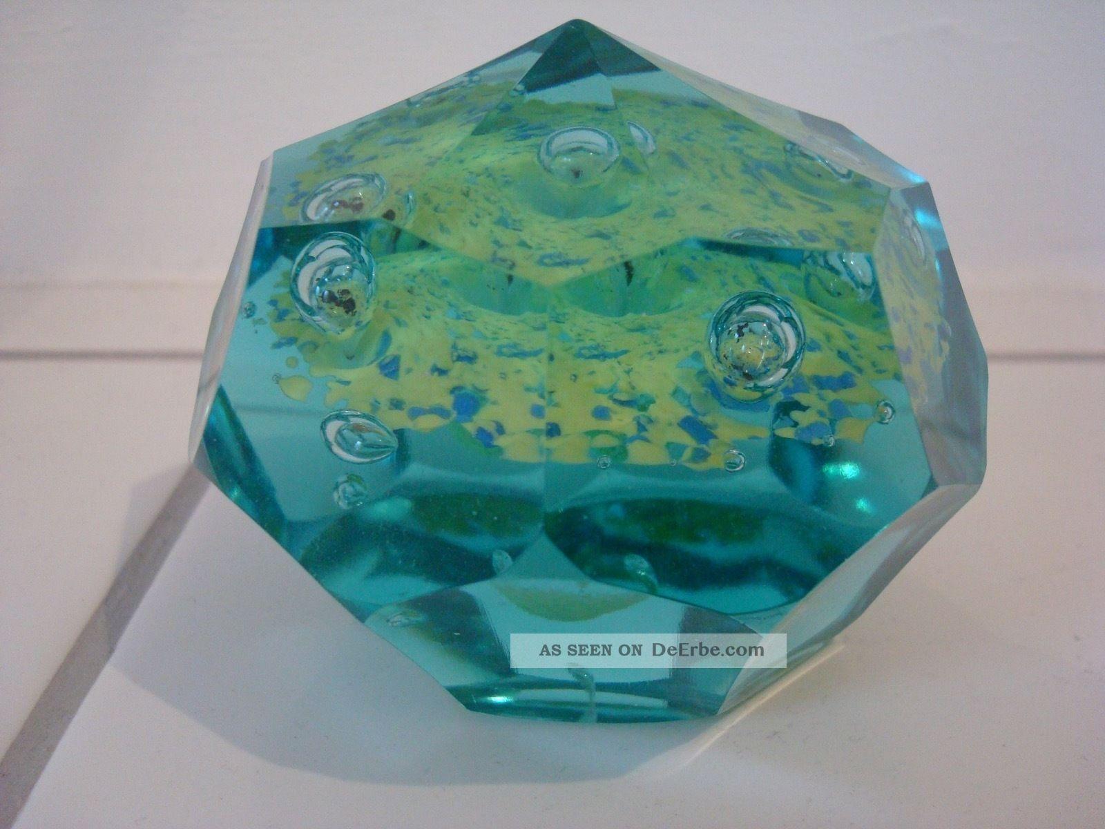 Ungewöhnliches Facettiertes Paperweight Briefbeschwerer,  Blau - Grünes Glas Dekorglas Bild