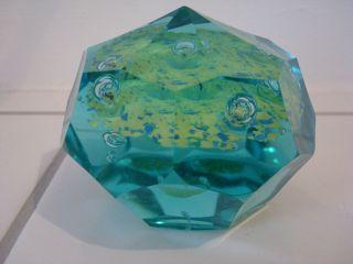 Ungewöhnliches Facettiertes Paperweight Briefbeschwerer,  Blau - Grünes Glas Bild