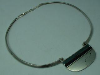 Handarbeit Top 70er Jahre Designer Collier Kette 925 Silber Mit Achat Und Onyx Bild