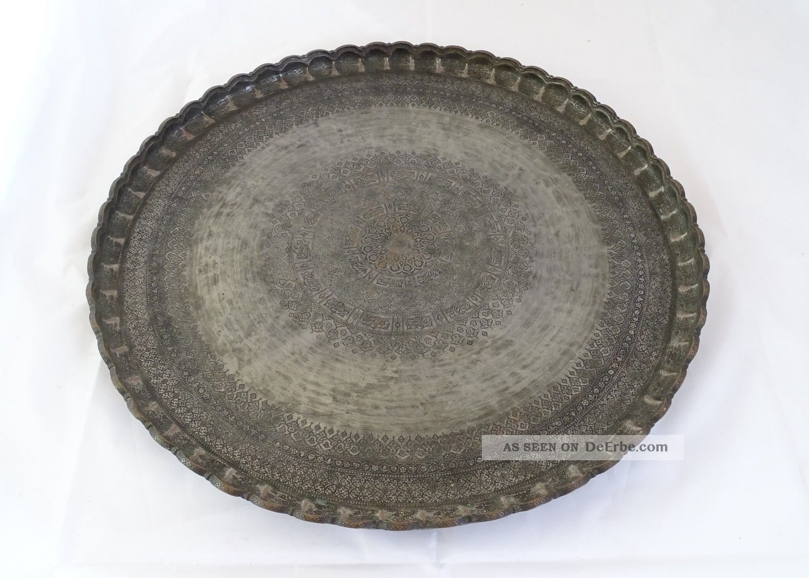 Herrlich Verzierte Orientalische Teetisch Schale Platte Metall Schwer Massiv Islamische Kunst Bild