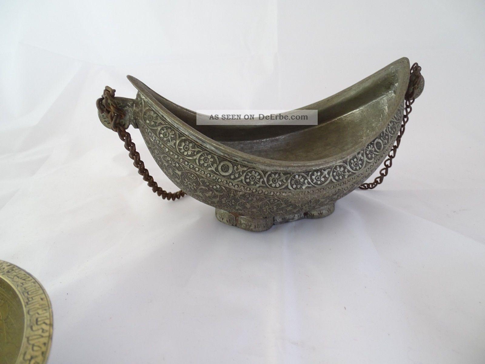 Konvolut 4 Antiker Orientalischer Gefäße Schale Form Schüssel Herrlich Verziert Islamische Kunst Bild