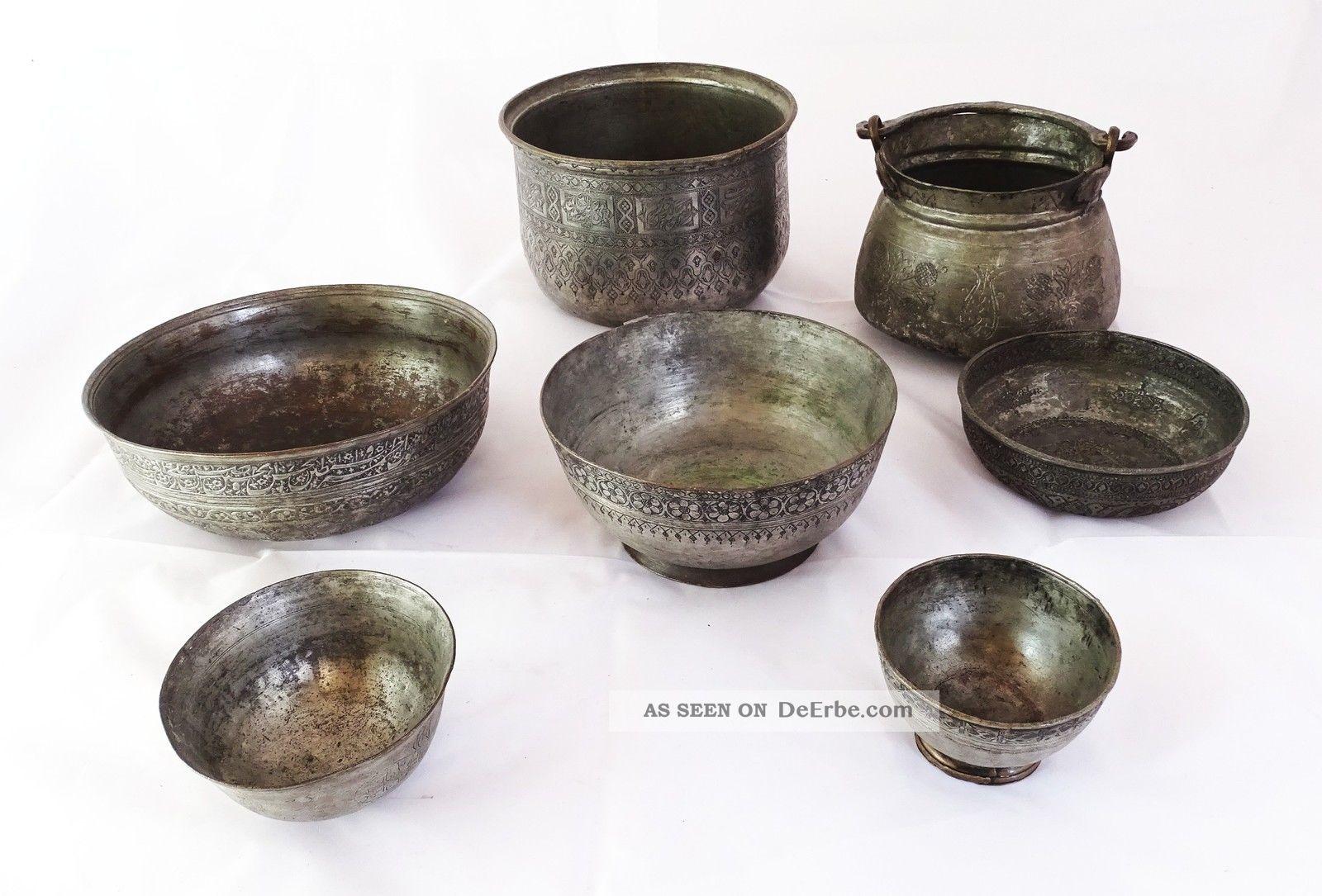 Großes Konvolut Antiker Orientalischer Gefäße Mit Herrlichen Verzierungen Metall Islamische Kunst Bild