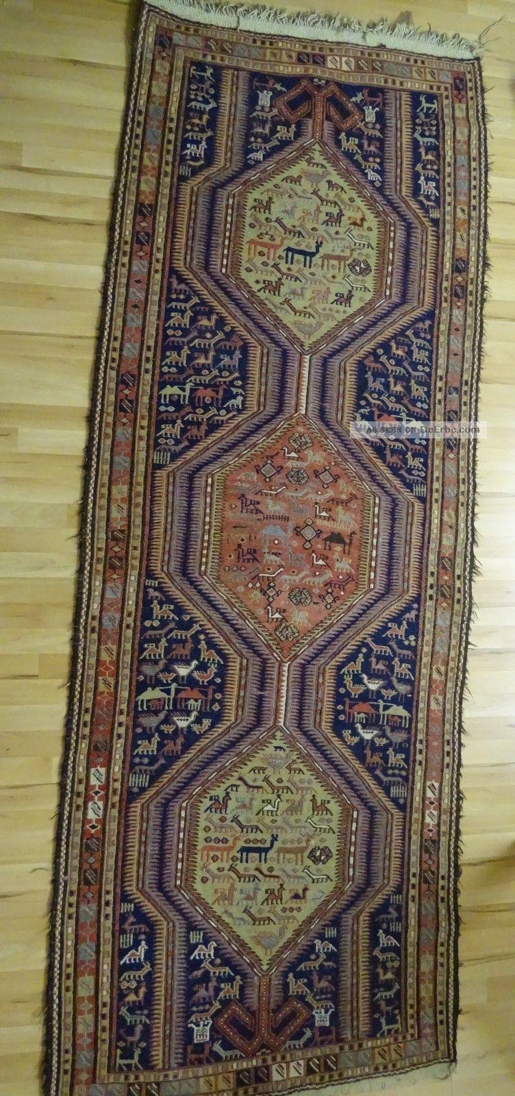 Kelim Orient Teppich Kaukasus Nordpersien Zwischen 1900 Und 1925 Viele Motive Teppiche & Flachgewebe Bild