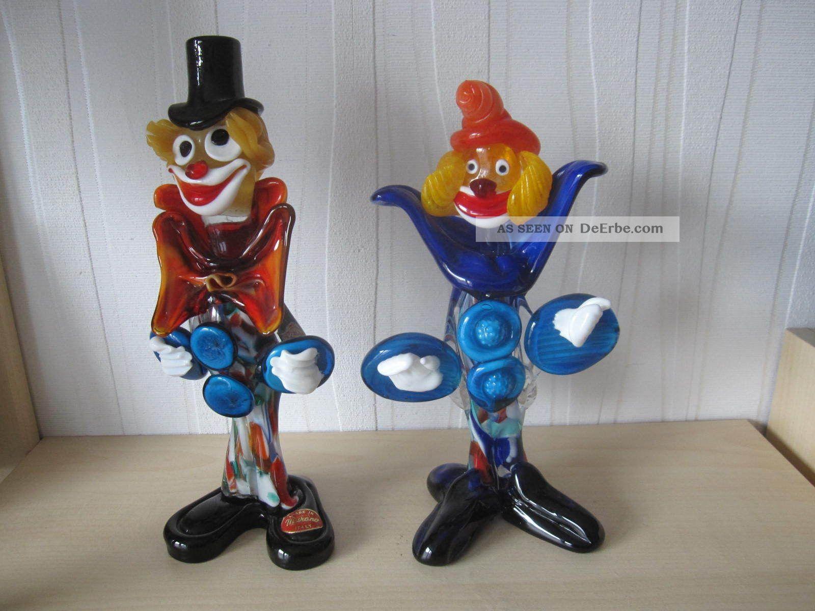 2 - Murano Clown 22,  5 U.  25 Cm.  Groß _a 3_ Glas & Kristall Bild