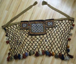 Antiker Orientalischer Wandbehang Braun Gitter Mit Blümchen Wohl Kurdisch Orient Bild