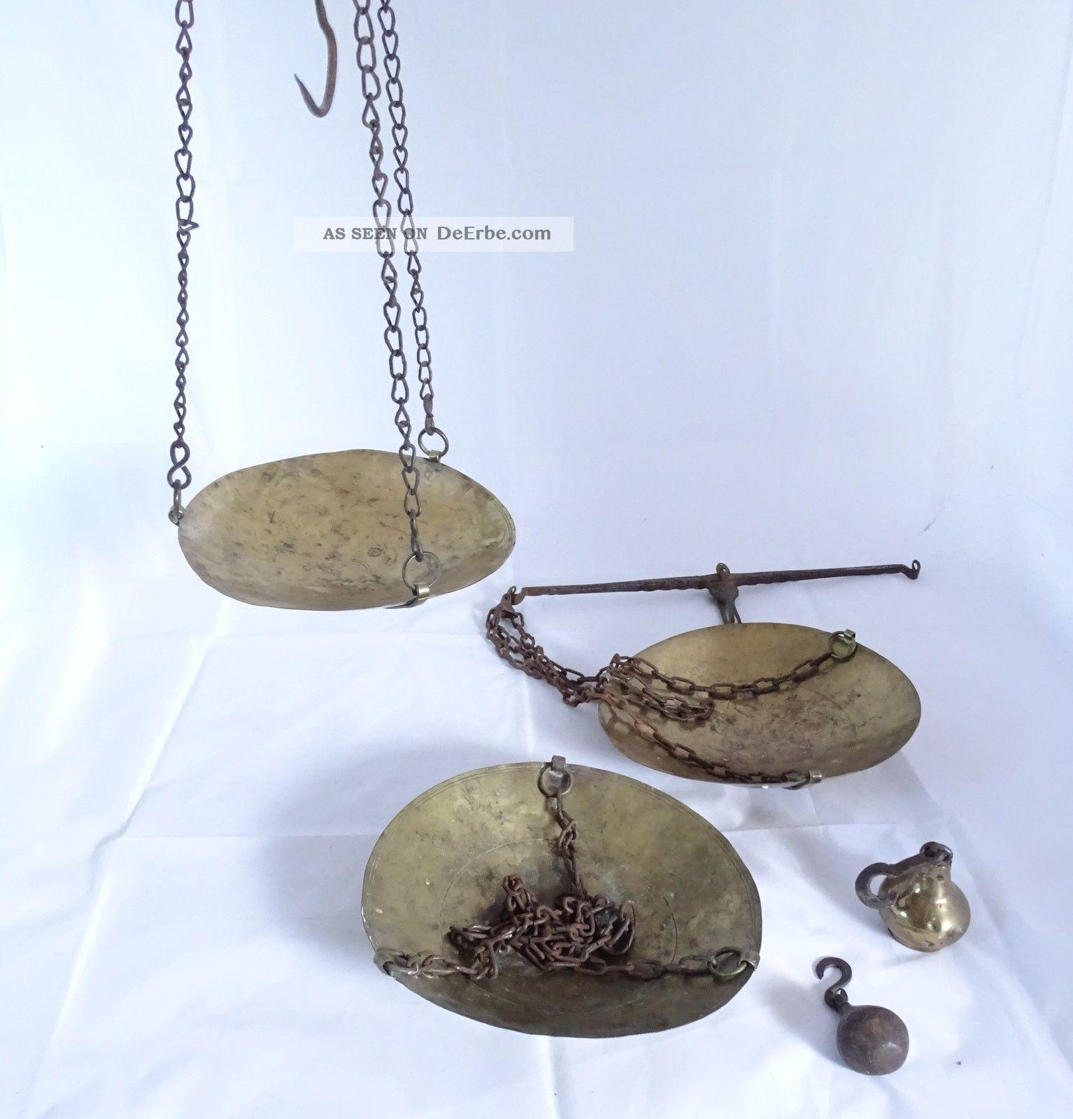 Antike Orientalische Tellerwaage Balken Waage Geschmiedete Handwaage 3 Teile Islamische Kunst Bild