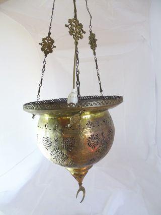 Antike Orientalische Türkische Hängelampe Metall Mit Langer Kette Deckenlampe Bild