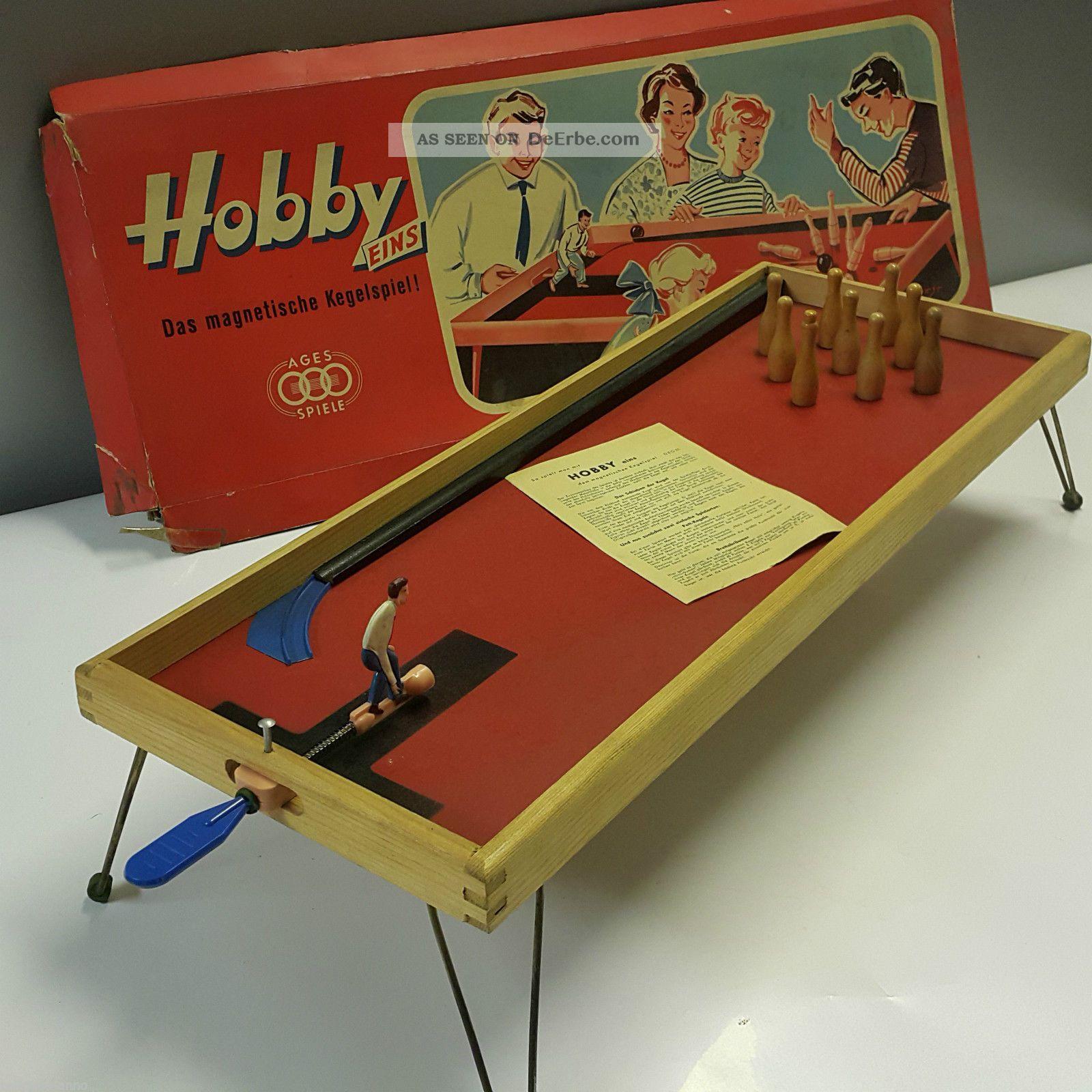 Ages Hobby Eins Das Magnetische Kegelspiel Ddr 1960er Jahre Mit Ovp Gefertigt nach 1945 Bild