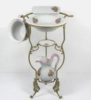 Waschset,  Ständer Antik Lavabo Waschschüssel Krug Seifenschale Nachttopf Blumen Bild