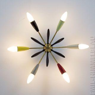 Sputnik 6 - Armig Decken Pendel Lampe 50er Bakelit Spinne Rockabilly Vintage Bild