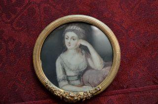 Alte Antike Miniaturmalerei Im Bronzerahmen Um 1900 Bild