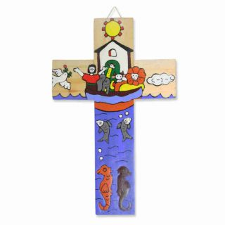 Kinderkreuz / Wandkreuz Aus El Salvador Arche Noah Bunt Bemalt Kreuz 15 X 9 Cm Bild