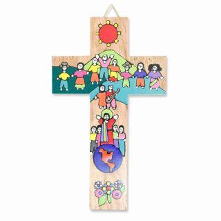 Kinderkreuz / Wandkreuz Für Kinder Bunt Bemalt Holz 15 X 9 Cm Aus El Salvador Bild