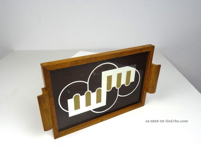 AusergewÖhnliches Art Deco Servier Tablett 1930 Tablett Bar Geometrisch Chrom 1920-1949, Art Déco Bild